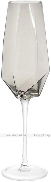 Набор 4 фужера Clio бокалы для шампанского 370мл, дымчатое стекло