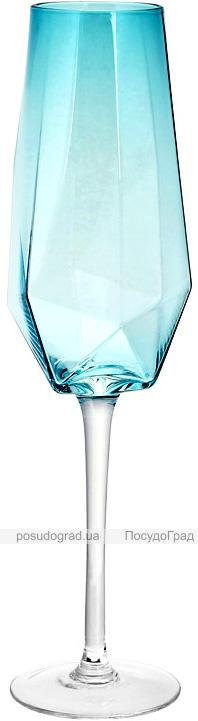 Набор 4 фужера Monaco бокалы для шампанского 370мл, стекло голубой лед
