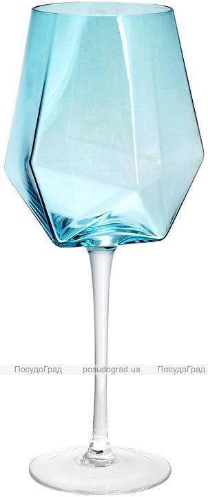 Набір 4 фужера Monaco келихи для вина 670мл, скло блакитний лід
