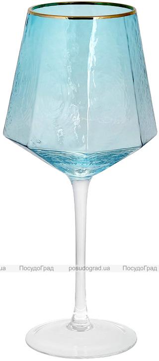 Набір 4 фужера Monaco Ice келихи для вина 570мл, скло блакитний лід з золотим кантом
