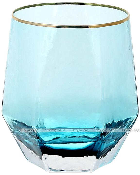 Набір 4 склянки Monaco Ice 450мл, скло блакитний лід з золотим кантом