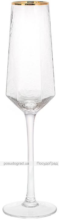 Набор 4 фужера Monaco Ice бокалы для шампанского 200мл, стекло с золотым кантом