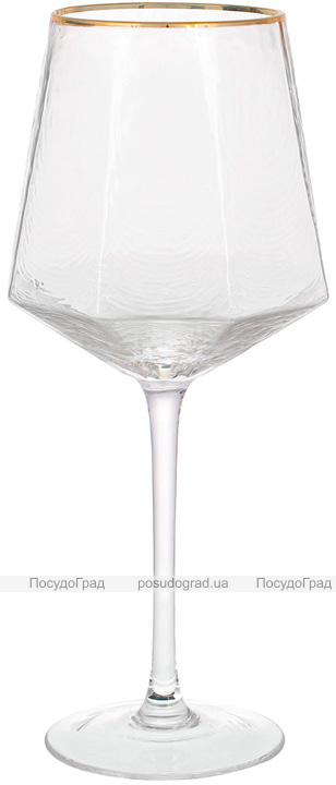 Набір 4 фужера Monaco Ice келихи для вина 570мл, скло з золотим кантом