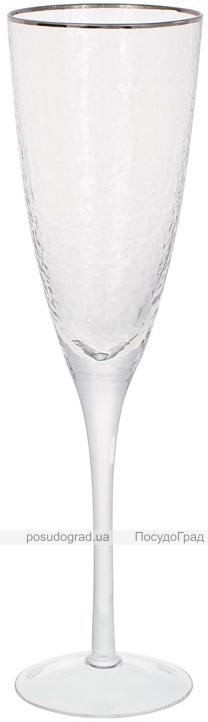 Набір 4 фужера Donna Ice келихи для шампанського 280мл, скло з срібним кантом
