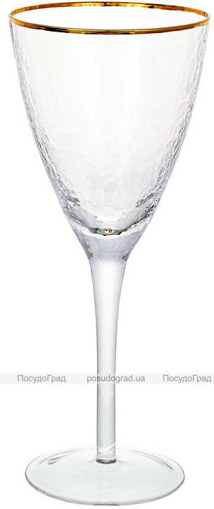 Набір 4 фужера Donna Ice келихи для вина 370мл, скло із золотим кантом