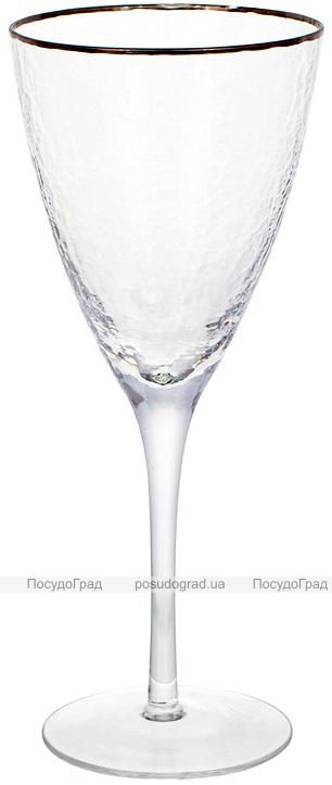 Набір 4 фужера Donna Ice келихи для вина 370мл, скло з срібним кантом