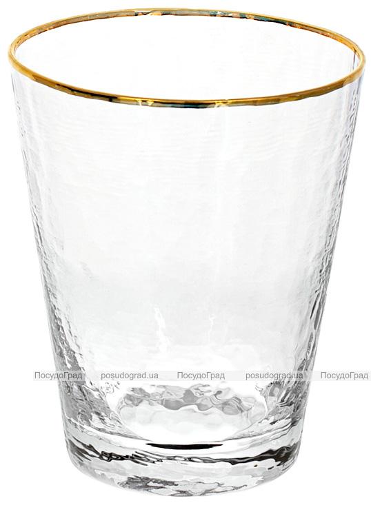 Набор 4 стакана Donna Ice 380мл, стекло с золотым кантом