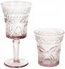 """Набір 6 келихів для вина """"Бант"""" 260мл, рожеве скло"""