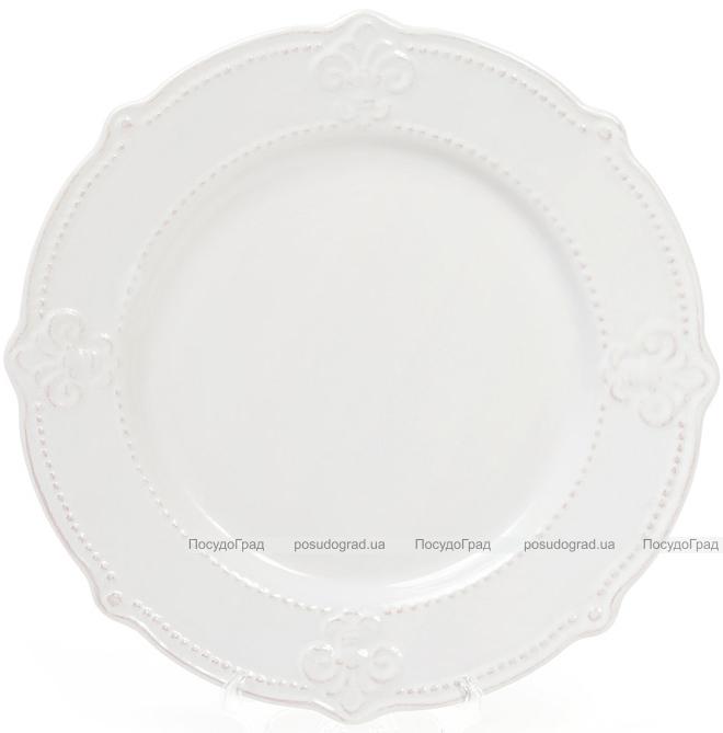 Набір 6 обідніх тарілок Leeds Королівська Лілія Ø26.1см, білі
