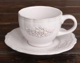 """Чайно-кавовий набір Shabby Chic """"Вензель"""" 2 чашки 180мл і 2 блюдця"""