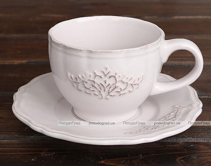 "Чайно-кофейный набор Shabby Chic ""Вензель"" 2 чашки 250мл и 2 блюдца"