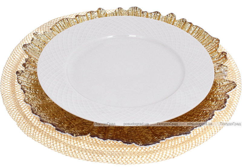 Блюдо сервіровочне Golden Petal декоративне Ø35см, підставна тарілка, скло