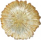 Блюдо сервировочное Golden Petal декоративное Ø35см, подставная тарелка, стекло