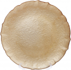 Блюдо сервіровочне Gold Paper декоративне Ø33см, підставна тарілка, скло
