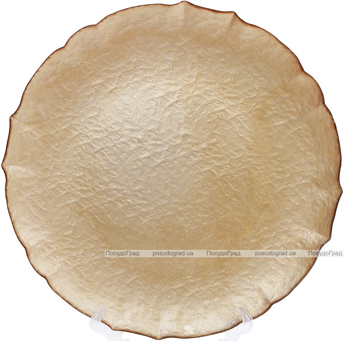 Блюдо сервировочное Gold Paper декоративное Ø33см, подставная тарелка, стекло