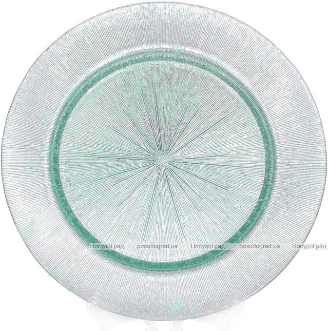 Блюдо сервіровочне Mirjana Green декоративне Ø33см, підставна тарілка, скло