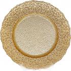 Блюдо сервировочное Lace Golden декоративное Ø33см, подставная тарелка, стекло