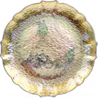 Блюдо сервіровочне Gold Paper Nacre декоративне Ø33см, підставна тарілка, скло