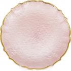 Блюдо сервировочное Pink Paper декоративное Ø33см, подставная тарелка, стекло