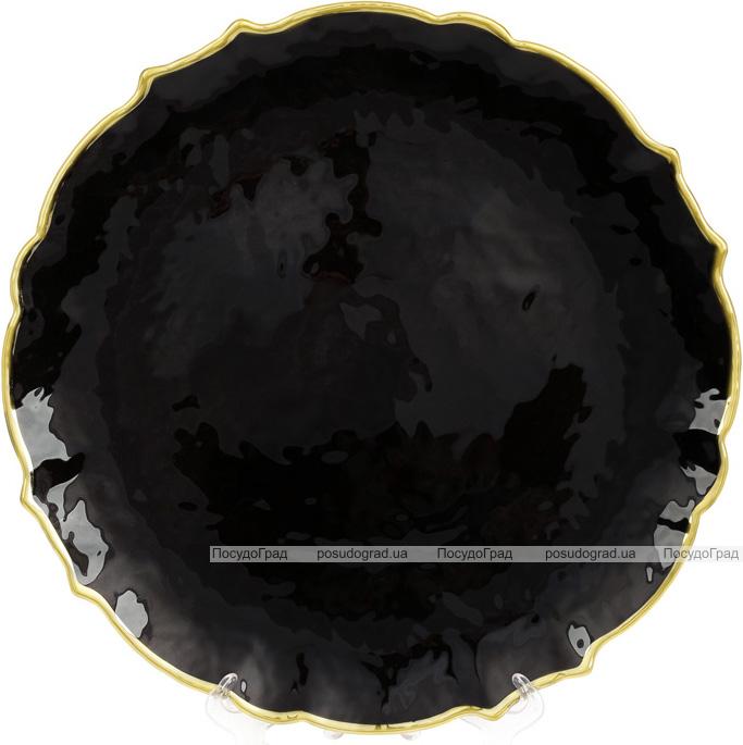 Блюдо сервіровочне Black Paper декоративне Ø33см, підставна тарілка, скло