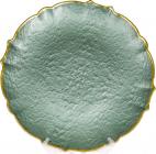 Блюдо сервіровочне Emerald Paper декоративне Ø33см, підставна тарілка, скло