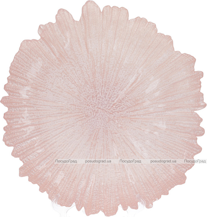 Блюдо сервірувальне 35см, підставна тарілка, скло, рожевий