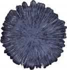 Блюдо сервировочное 35см, подставная тарелка, стекло, синий