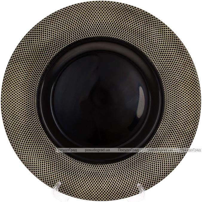 Блюдо сервірувальне 33см, підставна тарілка, скло, чорний з золотом
