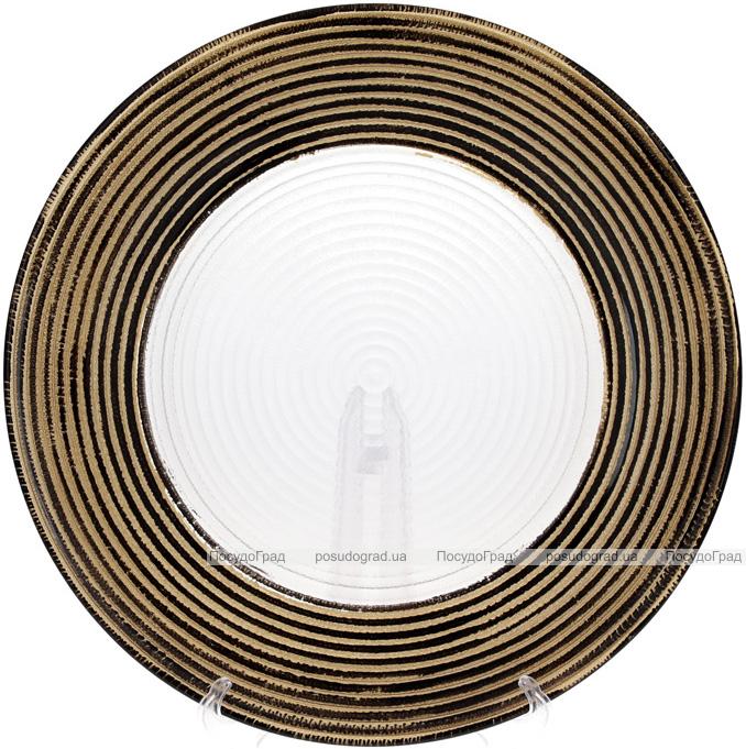 Блюдо сервірувальне 33см, підставна тарілка, скло, прозорий з золотом