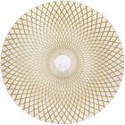 Блюдо сервировочное 33см, подставная тарелка, стекло, прозрачное с золотом и узором от центра