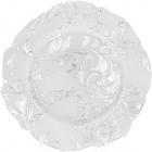 Блюдо сервировочное 33см, подставная тарелка, стекло, белое с серебряным узором