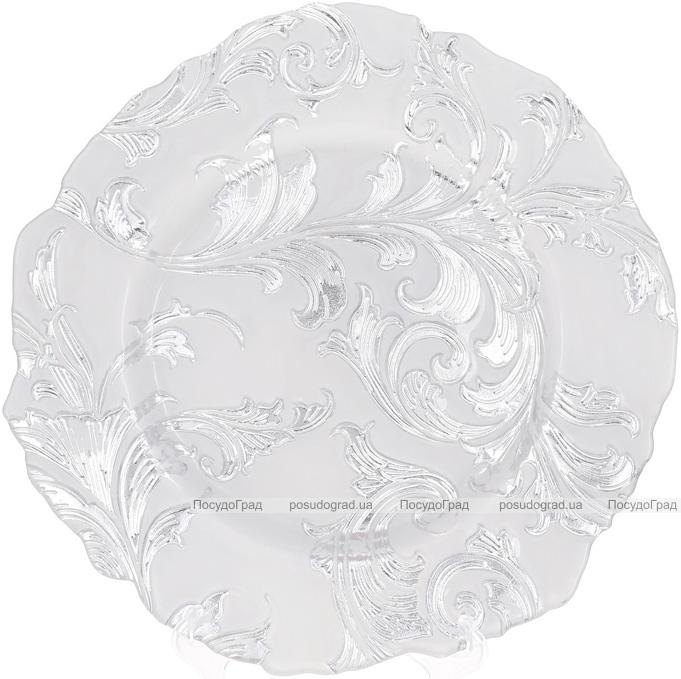 Блюдо сервірувальне 33см, підставна тарілка, скло, біле зі срібним візерунком