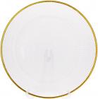 Блюдо сервировочное 33см, подставная тарелка, стекло, прозрачное с золотой каймой