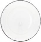 Блюдо сервировочное 33см, подставная тарелка, стекло, прозрачное с серебряной каймой
