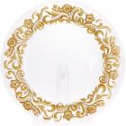 Блюдо сервировочное 33см, подставная тарелка, стекло, прозрачное с золотым узорным кантом