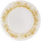 Блюдо сервировочное 33см, подставная тарелка, стекло, белое с золотым узорным кантом