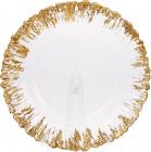 Блюдо сервировочное 33см, подставная тарелка, стекло, прозрачное с золотой каймой к центру