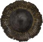 Блюдо сервировочное 33см, подставная тарелка, стекло, черное с золотой каймой к центру
