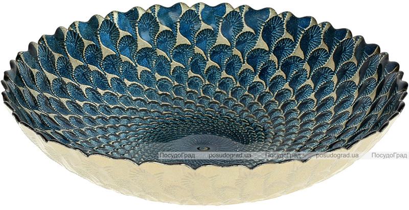Салатник стеклянный 26см, синий с золотым узором