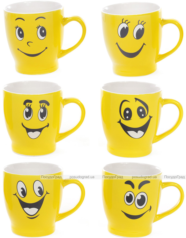 "Кружка порцелянова ""Смайлик Посмішка"" 220мл, жовта"
