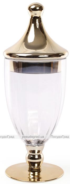 Ваза-кубок Ancient Glass Ø16х42см, стеклянная с позолотой