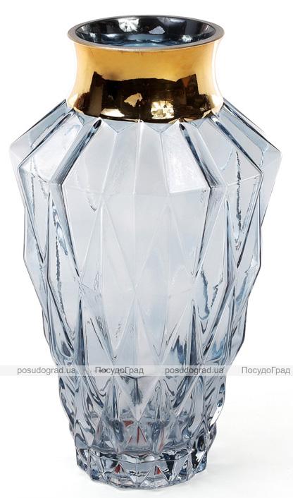 Ваза для цветов Ancient Glass настольная Ø15.5х25см, голубое стекло