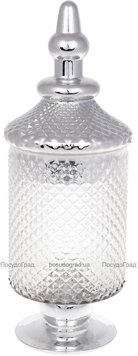 Банка Шевальє 12.5х13.5х37.5см скляна зі сріблом