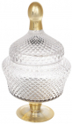 Цукерниця Шевальє 11х17х31см скляна з позолотою, бонбоньєрка