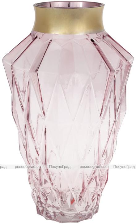 Ваза для квітів Ancient Glass Брюссель настільна 9.5х18.5х30см, рожеве скло