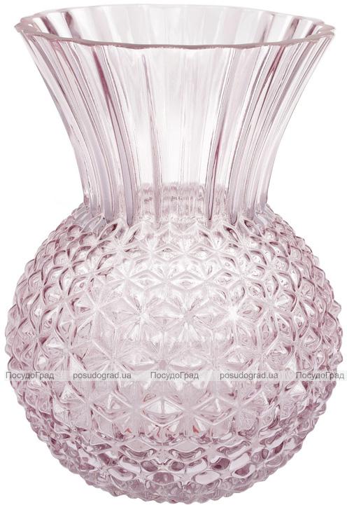 Ваза декоративна Ancient Glass Касабланка 14х15.5х22см, рожеве скло