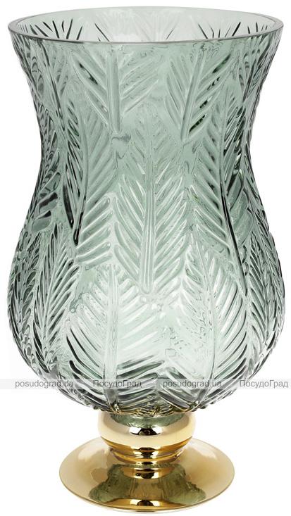 Ваза декоративна Ancient Glass Розалін 19х20х35см, зелене скло