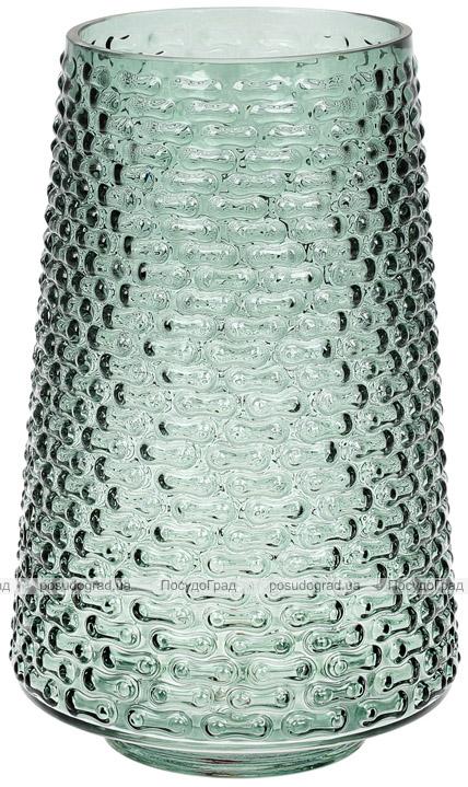 Ваза декоративна Ancient Glass Флора Ø16.5х26.5см, зелене скло