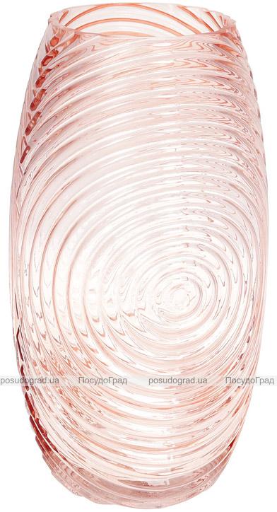 Ваза декоративна Ancient Glass Гелексі Ø16х30см, рожеве скло