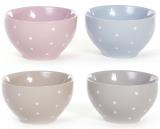 """Набор 6 керамических салатников """"Белый горох"""" 670мл, нежность"""